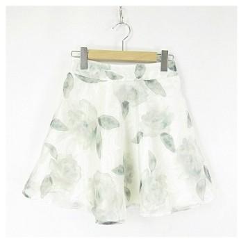 アラマンダ allamanda スカート フレアー 膝丈 花柄 オーガンジー ウエストゴム イージー 38 白 ホワイト 緑 グリーン
