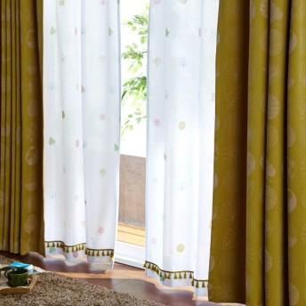 ミニラボ フリンジ付きのUVカット・遮熱・遮像レースカーテン 「お花のコレクション」