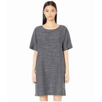 エイリーンフィッシャー レディース ワンピース トップス Organic Linen Delave Pinstripe Scoop Neck Tunic Dress Graphite
