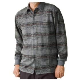 毛混起毛スナップボタンニットシャツ / 38939 M グレー(cm-355124)[枚]