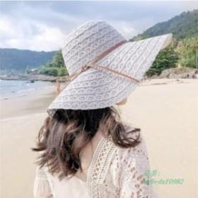 帽子レデイース春 夏収納 麦わら帽子折りたたみ可 女性用サンバイザー 飛ばないナチュラルブリム日よけ大きいサイズ つば広ハット 日焼け