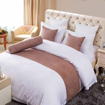 OSVINO ベッドライナー フットスロー ベッドスロー おしゃれ 無地 インテリア ホテル 民泊 寝室 自宅 年中通用 茶色 210X45cm セミ