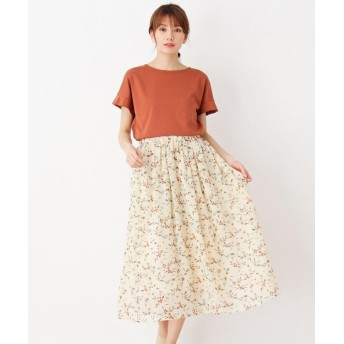 pink adobe 花柄シフォンスカートセット Tシャツ付き