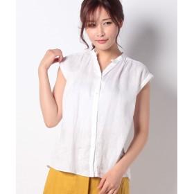 アルアバイル リネンスタンドギャザーシャツ レディース ホワイト 02 【allureville】