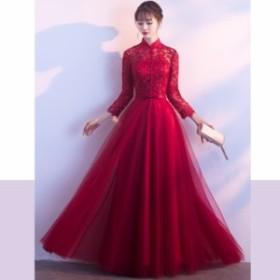 パーティードレス 結婚式 二次会 ワンピース お呼ばれドレス 20代 30代 40代 袖あり ロング レース 大きいサイズ お呼ばれワンピース 二