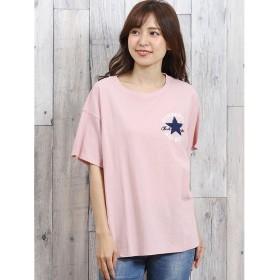 タカキュー コンバース/CONVERSE パッチロゴサガラ刺繍半袖Tシャツ レディース ピンク L 【TAKA-Q】