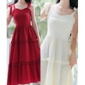 パーティードレス ワンピース お呼ばれ ロング丈 結婚式 二次会 リボン お呼ばれドレス ドレス 20代 30代 40代 キャミソール フリル シン