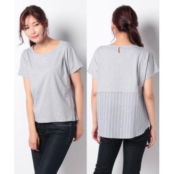 コムサイズム ストライプ デザインTシャツ(ONIGIRI) レディース サックス M 【COMME CA ISM】