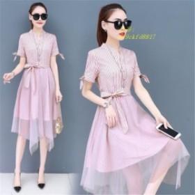 ワンピース シャツワンピース レディースワンピース 夏 大きいサイズ ドレス コールド風ドレス夏のドレス 韓国風 不規則