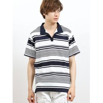 【50%OFF】 タカキュー リップルボーダー衿ワイヤースキッパー半袖ポロシャツ メンズ ネイビー L 【TAKA-Q】 【セール開催中】