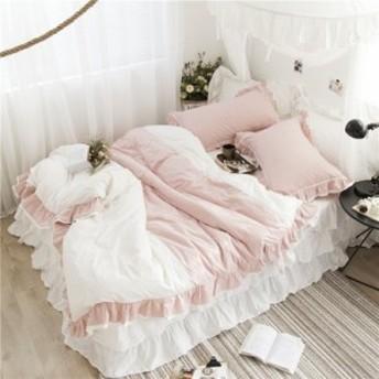 【S】ロマンティック ティアードフリル ベッドスカート 配色ベッドカバー 3点セット