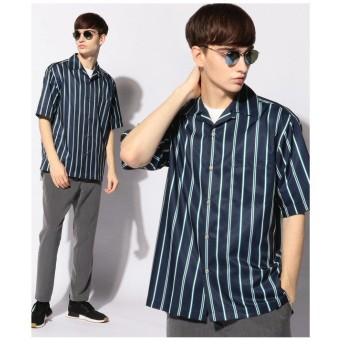 【50%OFF】 メンズビギ レジメンタルストライプオープンカラーシャツ/開襟シャツ メンズ グリーン S 【Men's Bigi】 【セール開催中】