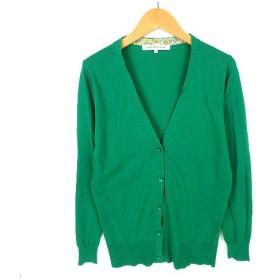 【中古】グリーンレーベルリラクシング ユナイテッドアローズ green label relaxing カーディガン ニット Vネック 40 グリーン ※Y レディース