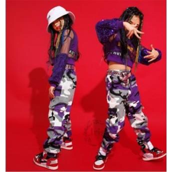 キッズダンス衣装 女の子 迷彩柄 セットアップ ヒップホップ HIPHOP 迷彩パンツ タンクトップ パープル ジャズダンス 子供ダンス 団体服