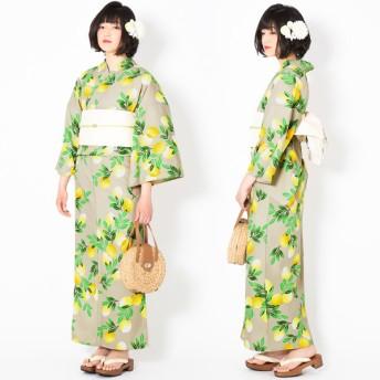 浴衣 - KIMONOMACHI KIMONOMACHI オリジナル 浴衣 レディース ポリエステル浴衣 女性浴衣 ゆかた 「グレージュ 檸檬」吸水速乾CoolPass