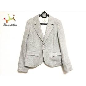 クミキョク ジャケット サイズ5 XS レディース 美品 アイボリー×黒×グレー 肩パッド   スペシャル特価 20190916