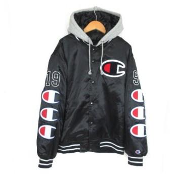 シュプリーム SUPREME Champion チャンピオン 18AW Hooded Satin Varsity Jacket バーシティージャケット フーディ 中綿 黒 ブラック S 【中古】