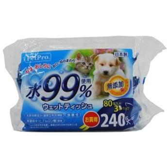 ペットプロジャパン PetPro 4981528626018 ペットプロ ウェットティッシュ 水99%使用 80枚入×3個パック