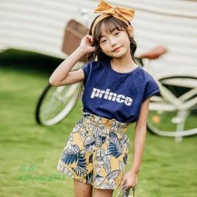 子供服 女の子 Tシャツ 綿 着心地良い 110 半ズボン 130 2点セット 120 夏服 アラベスク柄 140 半袖Tシャツ