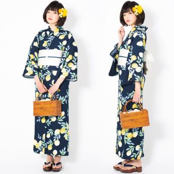 浴衣 - KIMONOMACHI KIMONOMACHI オリジナル 浴衣 レディース ポリエステル浴衣 女性浴衣 ゆかた 「ミッドナイト 檸檬」吸水速乾CoolPass