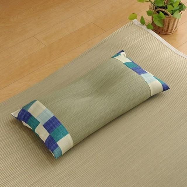 い草枕 ピロー 低反発 『マリータ くぼみ平枕』 ブルー 約50×30cm 3644040