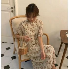 2色 花柄 ワンピース ミモレ丈 ロング丈 ワッシャー 半袖 ゆったり レトロ 大人可愛い 韓国 オルチャン ファッション