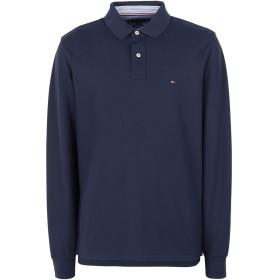 《セール開催中》TOMMY HILFIGER メンズ ポロシャツ ダークブルー S コットン 100% HILFIGER REGULAR LS