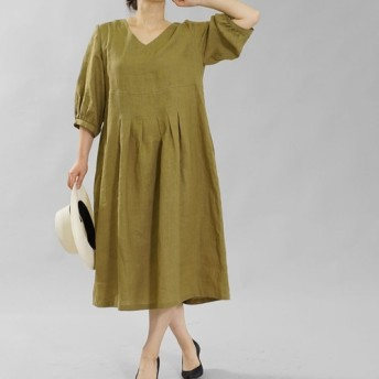 【wafu】薄地 雅亜麻 リネン ワンピース ふんわりスリーブ Vネック タック ドレス /黄橡色 a062h-kib1