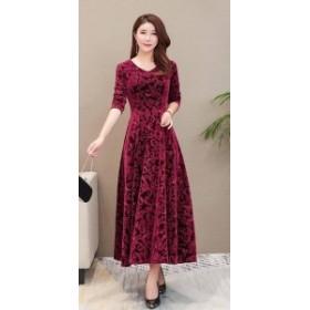ロングスカート ドレス ベルベッド 花柄 ★3色