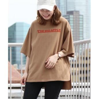 (coen/コーエン)ロゴプリントビッグTシャツ/レディース BEIGE