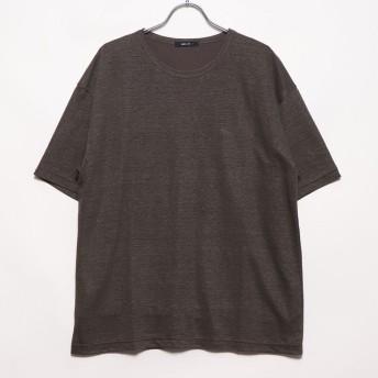 コムサイズム COMME CA ISM リネンクルーネックTシャツ (カーキ)