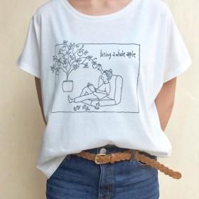 ☆送料無料☆ドルマンスリーブTシャツ「リンゴの丸かじり」