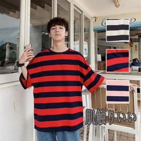 [55555SHOP] 潮流 メンズ ヒップTシャツ ボーダー ゆったり 半袖 トップス 肌触りいい 通気性抜群 デザイン豊富 高品質 Tシャツ 学院風 原宿系