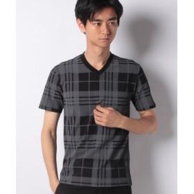 (STYLEBLOCK/スタイルブロック)オンブレチェックプリントVネックTシャツ/メンズ ブラック×チャコール