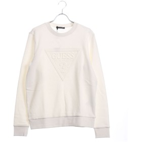 ゲス GUESS EMBOSS TRIANGLE LOGO L/S CREW SWEAT (IVORY)