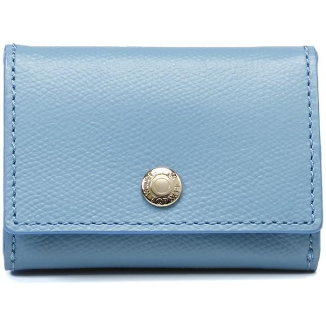 トプカピ TOPKAPI 角シボ型押し・三つ折りミニ財布 (ブルーグレー)