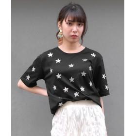 アンドジェイ 星柄スパンコール刺繍Tシャツ レディース ブラック M 【ANDJ】