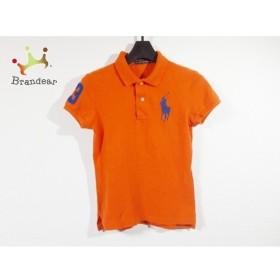 ラルフローレン 半袖ポロシャツ サイズM レディース 美品 ビッグポニー オレンジ×ネイビー   スペシャル特価 20190923
