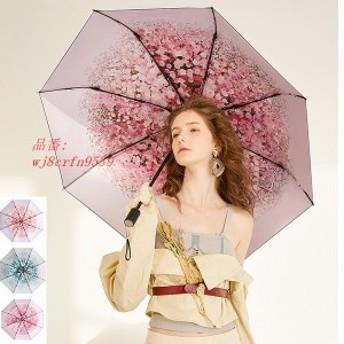 レディース さくら柄 日傘 シワ紫外線対策 折りたたみ傘 晴雨兼用傘 UVカット シミ 遮光遮熱 大きい UVカット ブラックコーティング 完全