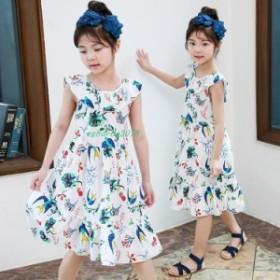 子供服 花柄 ワンピース ボヘミアン バックレス ナチュラル ビーチ ワンピース 海 女の子 ワンピース 爽やか 韓国風 夏 キッズ