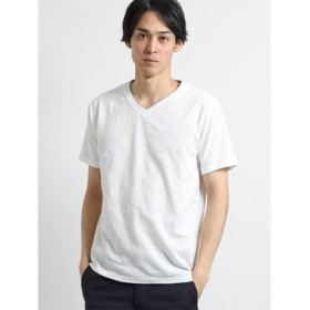 (TAKA-Q/タカキュー)リンクスジャガードリーフ柄 Vネック半袖Tシャツ/メンズ ホワイト