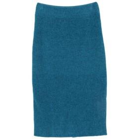 ティティベイト titivate ミディアム丈ニットタイトスカート (ブルー)