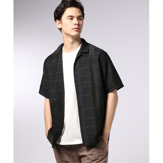 EDIFICE YONEZAWA マドラスチェック オープンカラー シャツ ブラック S