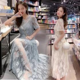 ウェディングドレス カラー 花嫁二次会 マキシワンピース ドレス 春 韓国風 結婚式 レディースワンピース ドレス マキシワンピ 花柄 レー