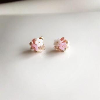 フルリールピアス 小花 ピンク