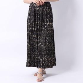 スタイルブロック STYLEBLOCK 花柄シフォンプリーツスカート (ブラック)