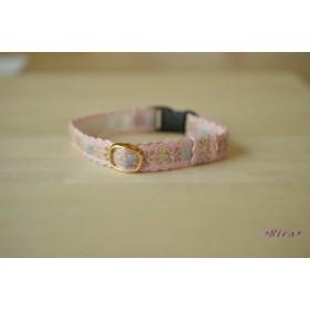 猫首輪 ピンクの花柄チロリアンテープ_No.5