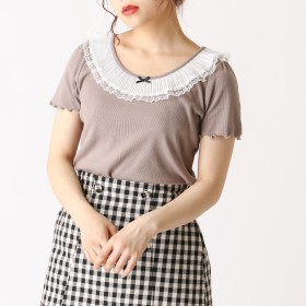 Tシャツ - OLIVE des OLIVE プリーツ衿テレコプルオーバー