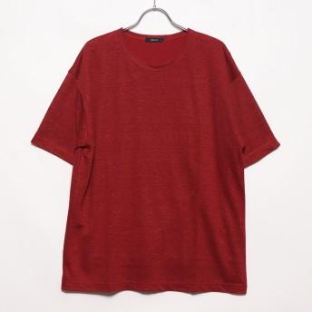 コムサイズム COMME CA ISM リネンクルーネックTシャツ (レッド)