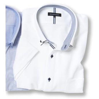 【GRAND-BACK:トップス】【大きいサイズ】 Biz パイピングボタンダウン半袖カットビジネスドレスシャツ/ビズポロ/クールビズ